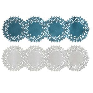 Table Runner with 4 circular shapes in Turquoise and Silver