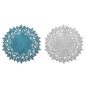 Turquoise and Silver Circular Placemat