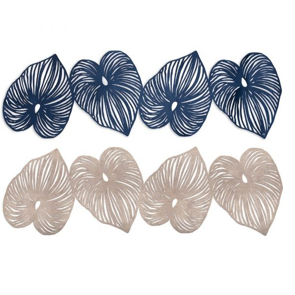Table Runner consisting of 4 leaves in blue or rose gold