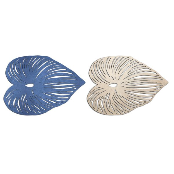 Placemat shaped like a leaf in blue and rose gold