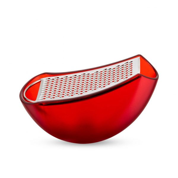 Alessi Grater with Cheese Cellar in Red - side view