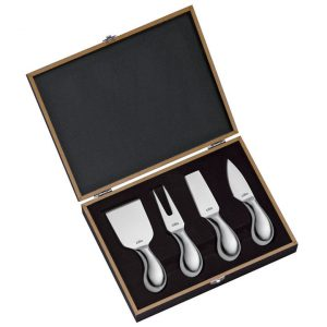 Cilio Cheese Knife Boxed Set, open, showing four cheese knives